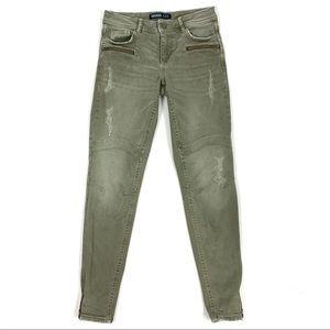 Zara Basic Z1975 Denim Distressed Ankle Zip Jeans